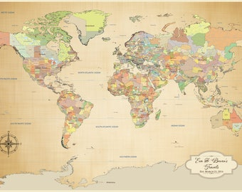 """2nd anniversary gift for men, Cotton Anniversary Gift for him, Personalized Push Pin World Map COTTON canvas, 2 years together 24 x 36"""""""