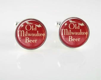 Vintage Old Milwaukee Beer Cuff Links or Tie Clip