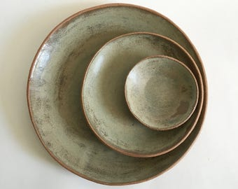 Ceramic Plates Made to Order in Sage Green-Gray Matte Glazed Stoneware Pottery Dishes