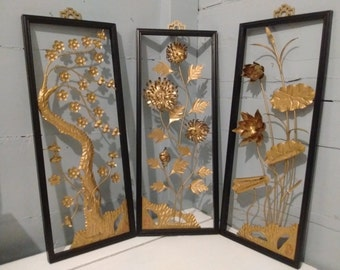 Art, Floral, Framed, 3D, Wall Art, Metal, Sculpture, Set of 3, Mid Century Modern, Asian Decor, Black, Gold, Home Decor, RhymeswithDaughter