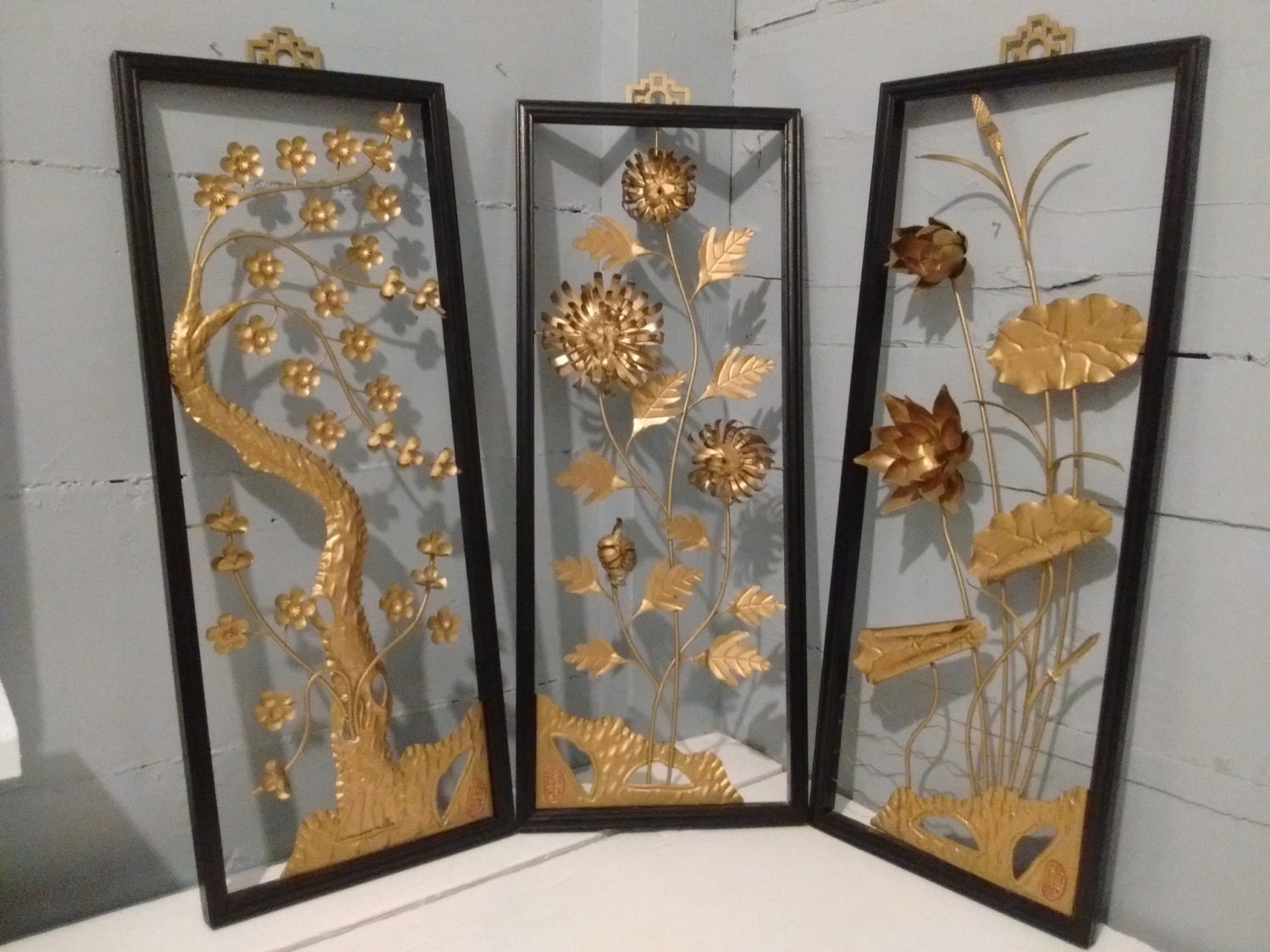 Art floral framed 3d wall art metal sculpture set for Asian home decor