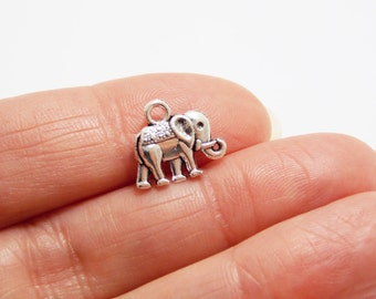 Silver Elephant Charms, Good Luck Charms, Elephant Jewelry, Elephant Pendant, Necklace charms, Lucky Elephant, Lucky Charms, Good Luck trunk