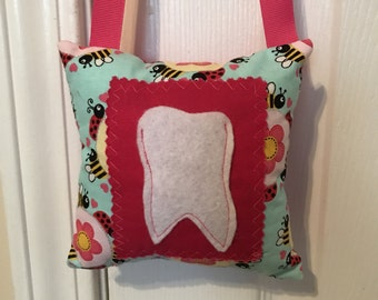 Tooth Fairy Pillow, Girls Tooth Fairy Pillow, Bumble bee and lady bug tooth fairy pillow