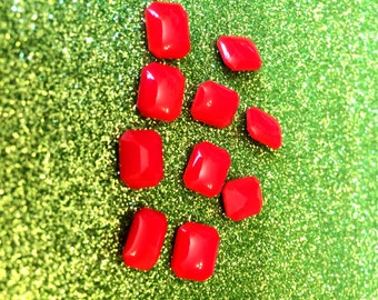 Vintage Coral Red colour Opaque Glass stone Octagonal 10mm x 8mm - 6g approx 10 pieces