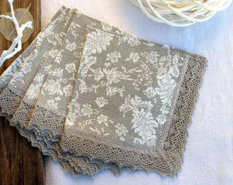 Linen napkins with lace edge - table linens - Floral napkins - European linen, Wedding gift, set of 6