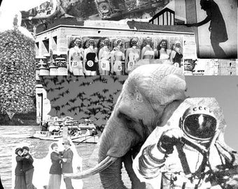 Original Collage Abstract Art- Spaceman Sci-Fi Elephant Astronaut Surreal Art Print