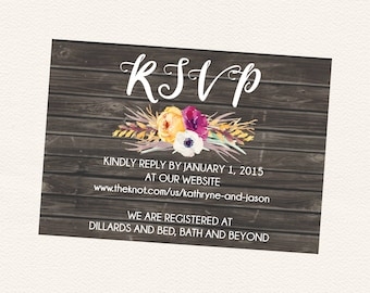 Printable Rustic Fall Floral Wedding Invitation