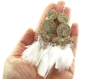Long gold feather earrings, 1920's earrings, boho earrings, soutache gold earrings, feather tassel earrings, gift for her, wedding earrings