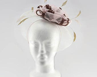 Occasion hats for Women, Wide Brim Fascinator for weddings or the Races, with bows shape centre and light feathers. Richmond Fascinator-Pink