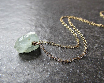 Raw Aquamarine Necklace in Sterling Silver, 14K Gold Filled or Rose Gold Fill- March Birthstone Gemstone Jewelry - Girlfriend Gift for Wife