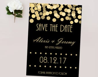 Save the Dates, Black and Gold Glitter*, Gold Confetti Save the Date Cards, Wedding Announcements - DEPOSIT