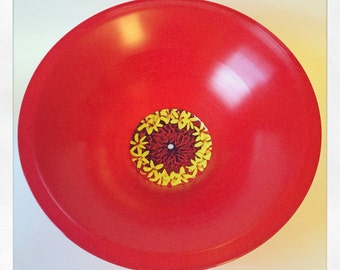 "Red 12"" Vinyl Stretched LP Flower Bowl - Red & Yellow Flower Design"