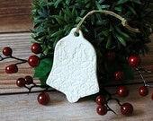 White Porcelain Bell Ornament - Lace Bell Ornament - Porcelain Christmas Ornament - Christmas Tree Ornament - Bell Ornament