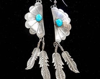 Vintage Handmade Navajo Sterling Silver Turquoise Feather Dangle Earrings