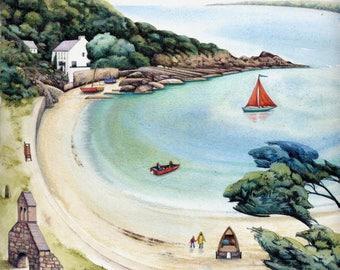 "Cwm yr Eglwys print | Fine art print | Welsh coast watercolour painting | 7"" x 7"" | Pembrokeshire art | Seaside beach scene"