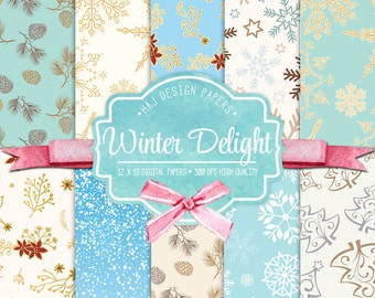 Winter digital paper : Winter Delight, Christmas digital paper, snowflake patterns | planner stickers, graphics resources, Fabric, Backdrop