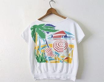 Women's MEDIUM Vintage 1980s Beach Graphic (Thick Print) Shirt