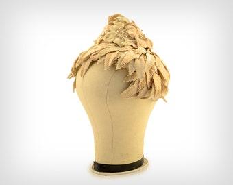 50s Hat // 1950s Velvet Ivory Leaf & Flower Hat