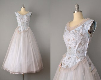 1940s Dress // 1940's Powder Blue Tulle and Taffeta Dress  w/ Embroidered Butterflies // Small