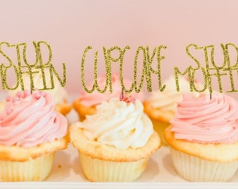 cupcake or stud muffin - cupcake toppers - girl or boy - gender reveal -ships fast