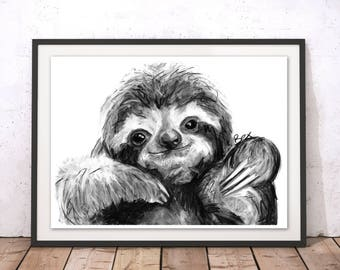 Sloth Art Print, Sloth Framed Wall Art, Sloth Illustration, Sloth Print, Sloth Gift for New Home, Sloth Wall Hanging Art Decor