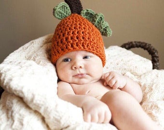 Crochet Baby Pumpkin Hat, Baby Pumpkin Hat Costume - Additional Sizes Available