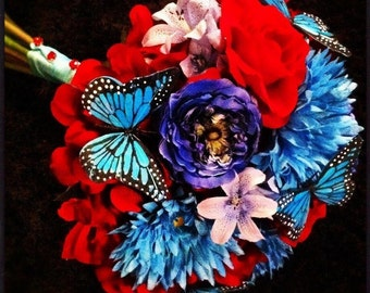 Red and Tourquiose Butterfly Bridal Bouquet