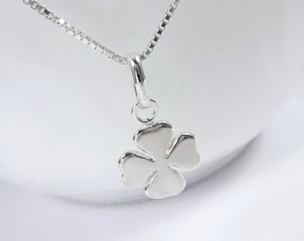 Sterling Silver Four Leaf Clover Necklace, Lucky Charm Necklace, Friendship Necklace, Best Friend Gift, Shamrock Necklace, St Patrick Day