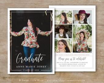 Senior Graduation Announcement  Template - Senior Card Template - Photoshop Template for Photographers - Senior Photographer Marketing