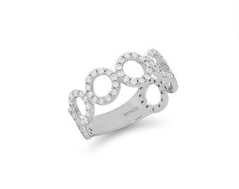 14k solid white gold .84ct diamond fancy band. item DM856