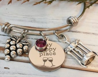 Wine My Happy Place Engraved Expandable Silver Bangle Bracelet - Grapes, Red Wine, Merlot, Cabernet, Champagne