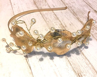Touch of the Sea- One of a Kind Pearl and Gold Headband
