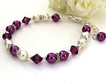 Plum Bridesmaid Crystal Bracelet, Swarovski Crystal Bracelet, Plum Pearl Bracelet Bracelet, Wedding Gift