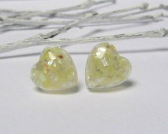 Stud earrings, resin earrings, small stud earrings, white earrings, bridesmaid earrings, dainty earrings, geometric earrings, heart earrings