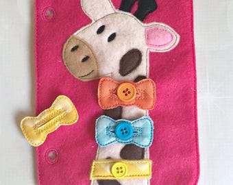 Quiet Book Page - Busy Book - Pre School Learning - Giraffe Buttons Page- Toddler Learning - Kids Activity Pages - Felt Toys - Learning Toys