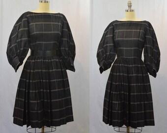 1950's Black and White Window Pane Plaid Full Skirt and Sleeves