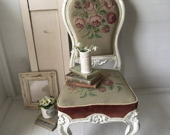 a stunning needlepoint spoonback victorian nursing chair bedroom chair boudoir chair pink roses - Nursing Chair