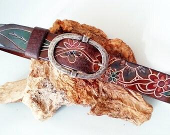 Belt, belt with flowers, belts, flowers leather belt. ethnic, Boho chic.
