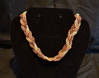 Vintage 1940s braided seed bead choker necklace in shades of brown