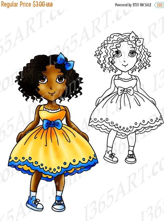50% OFF African American Clipart Black girl Digital Stamp