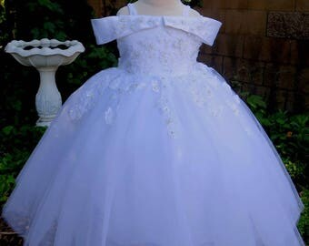 White Princess Flower Girl Dress