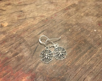 925 Silver Spider and Cobweb Earrings