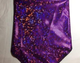 Holographic Purple Spandex Bandana w/ Shattered Glass in Fuschia Rainbow Sheen and Hidden Stash Pocket