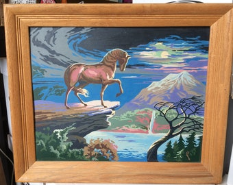 Vintage Paint-By-Numbers Painting - stallion in wilderness landscape - 24x20 inch wood frame - blue and green colors - very good condition