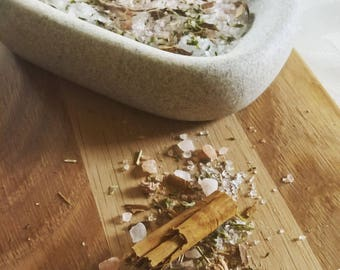 Patchouli, Cinnamon Bathsalts Bath Salts, hoodoo tea soak, Organic Herb Herbal, for him, for her, natural home, bathing cleansing