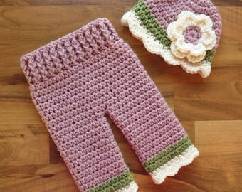 Crocheted Baby Girl Hat and Pants Set ~ Dusty Rose, Dusty Green & Cream ~ Baby Gift ~ Photo Prop ~ Newborn (0-2 Month) - MADE TO ORDER