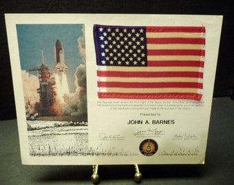 American Flag Flown in Space Aboard Columbia on it's third flight-