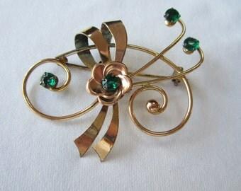 Signed Large Vintage HI Harry Iskin  10K Gold Filled Retro Brooch with Green Rhinestones