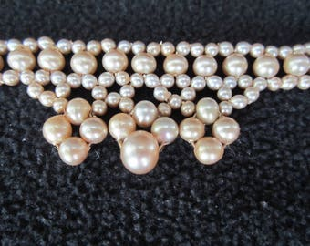 VINTAGE BRACELET - 1950's Japan Triple Strand Faux Glass Pearl Bracelet