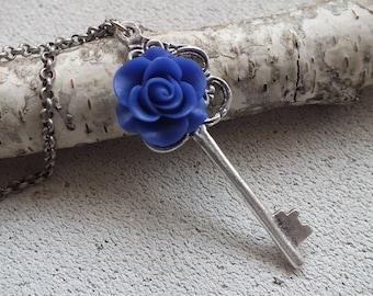 Rose Skeleton Key Necklace Key Pendant Long Chain Fantasy Key Skeleton Key Necklace Key to my Heart Necklace